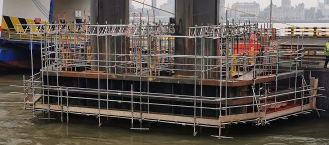 Industrial scaffolding over river