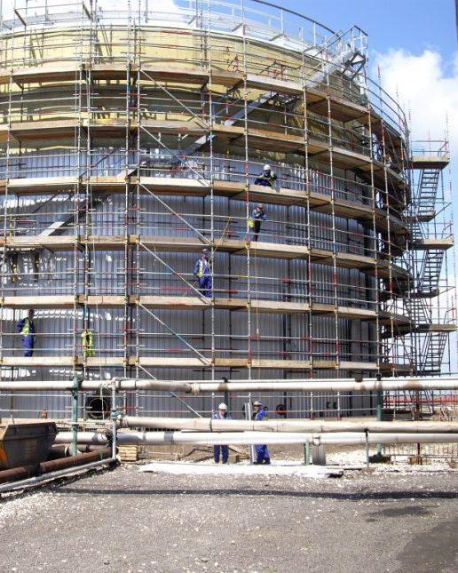 Industrial scaffolding access tank