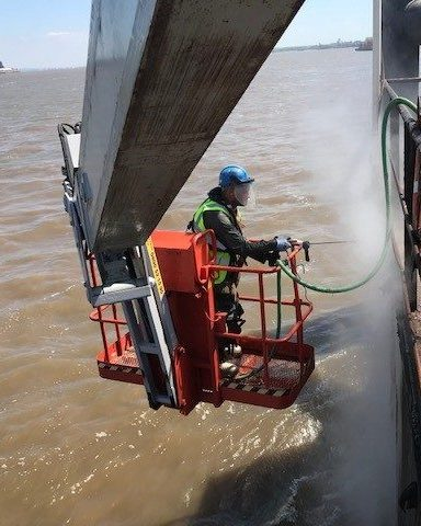 Surface preparation blasting marine coatings
