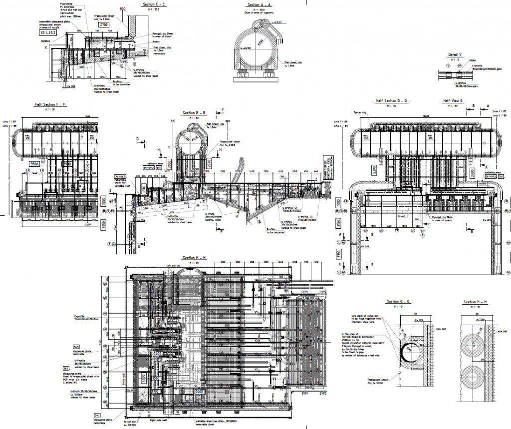 Technical drawing of insulation system design